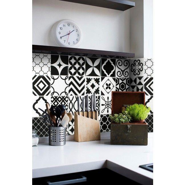 Patchwork carrelage vintage noir et blanc   Carrelage mural adhésif par Smart Tiles