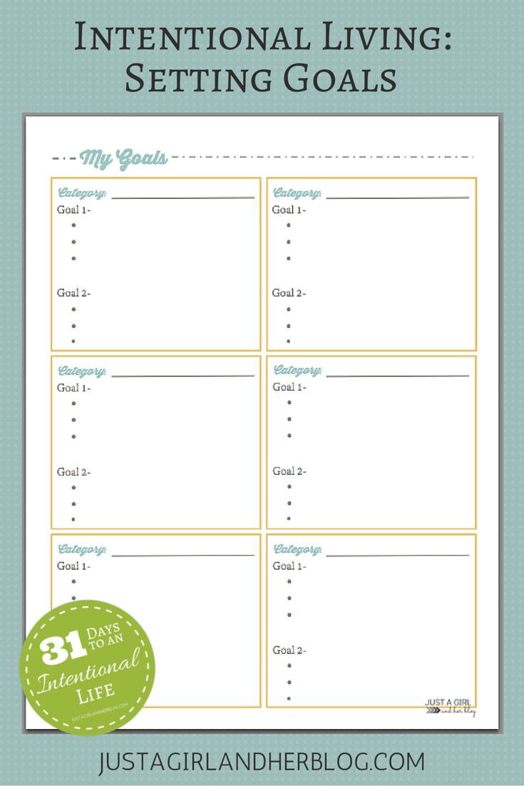 Intentional Living Setting Goals With Free Printable To Be Business Intelligence And