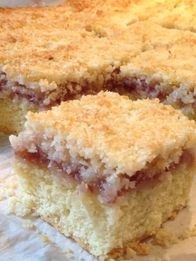 CWA Coconut & Jam slice ( scroll down page for recipe)
