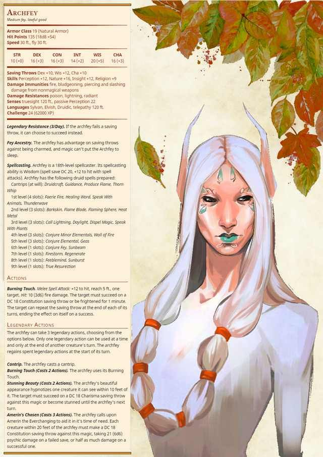 My stat block for very powerful CR24 summer themed Archfey! - Imgur
