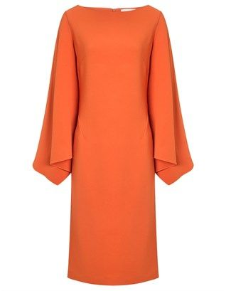 Orange Crepe Tukan Batwing Dress