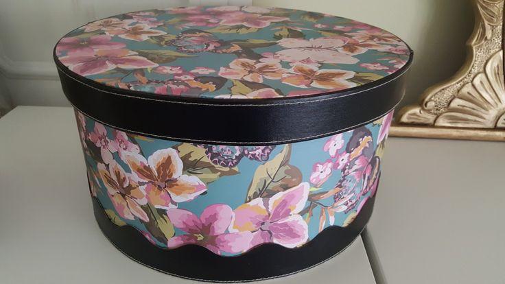 Caja sombrerero. Forrado con papel pintadotanto exterior como interior y pegar encima todas imitando a piel