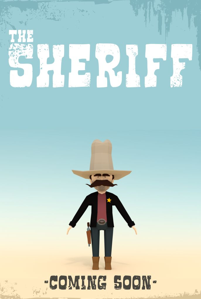 """The Sheriff"" poster draft - low poly work in progress"