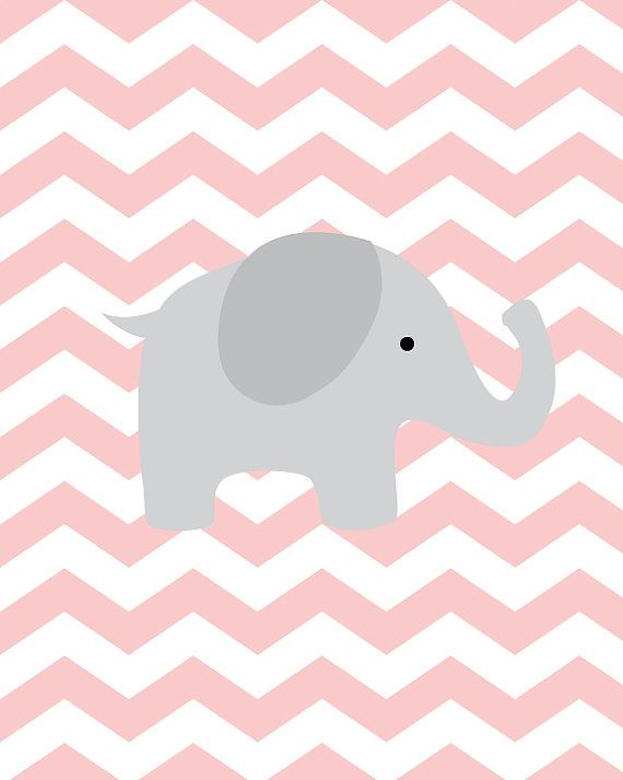 Baby Girl Nursery Art Chevron Elephant Nursery by SweetLittleBarn