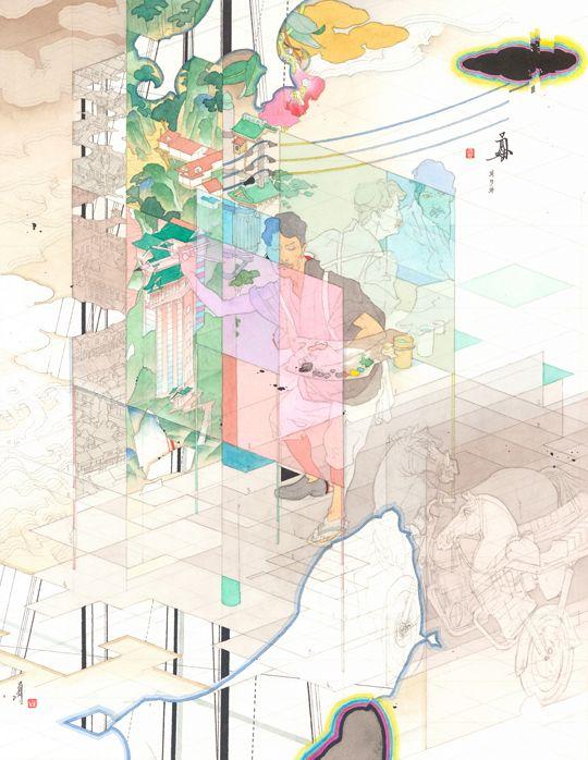 前に下がる 下を仰ぐ 2014 紙に鉛筆、ペン、水彩、墨 36.6 x 28.9 cm MIZUMA ART GALLERY