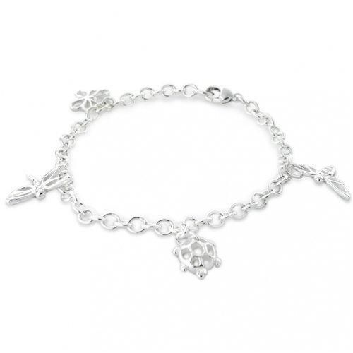 Bling Jewelry Classic Nature Charm Dangling Link Bracelet 7in