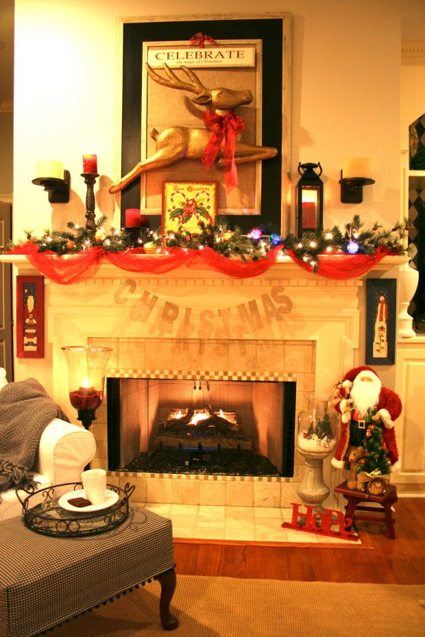 Decoration, Scenic Christmas Mantel Decorations With Red Tapes Also White  Rustic Fireplace Also Beautiful Craft For Decoration Living Room D.