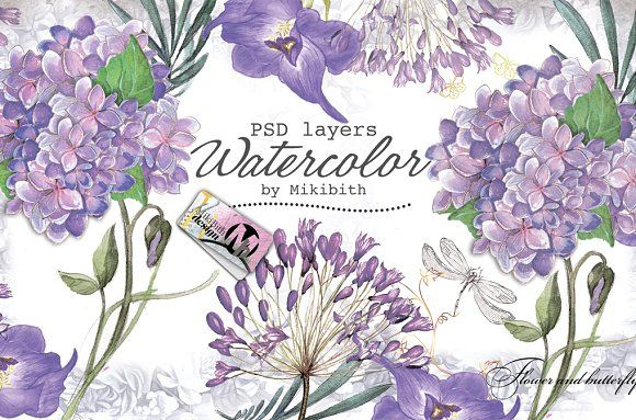 Violet flower's by Mikibith on @creativemarket