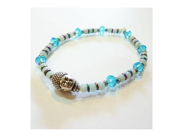 Bracelet Aigue Marine, Hématite & Cristaux