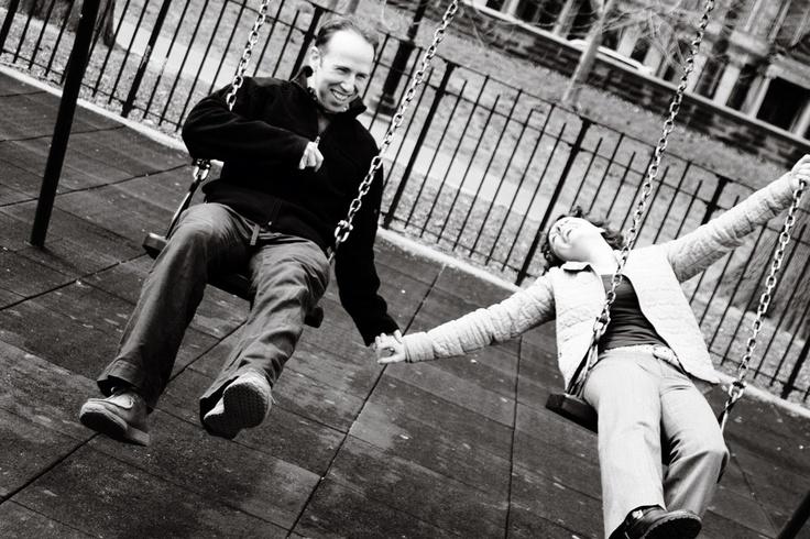 Swingset engagement photo. Don't be afraid to have fun! Photo by Casey Fatchett - www.fatchett.com: Playground Engagement, Photo Ideas, Engagement Photos, Engagement Portraits, Blog Tips, Weddingengag Photo, Photo Session, Swingset Engagement