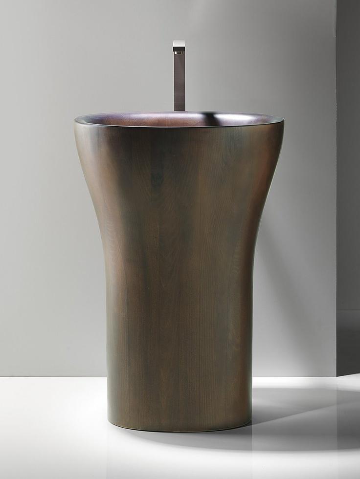 Walnut Free standing washbasin MUSE WALNUT by CERAMICA CATALANO #bathroom #wood #minimal @Ceramica Catalano