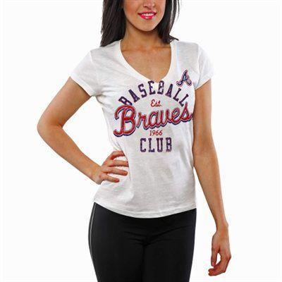 Atlanta Braves Designated Hitter V-Neck T-Shirt - White