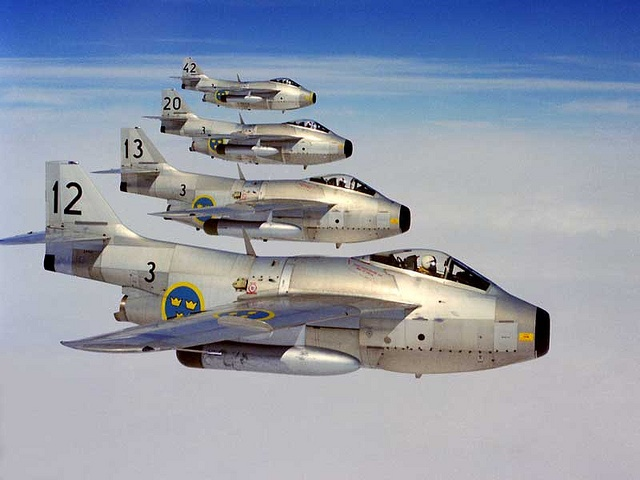 Saab J29, flying in formation, 1966.