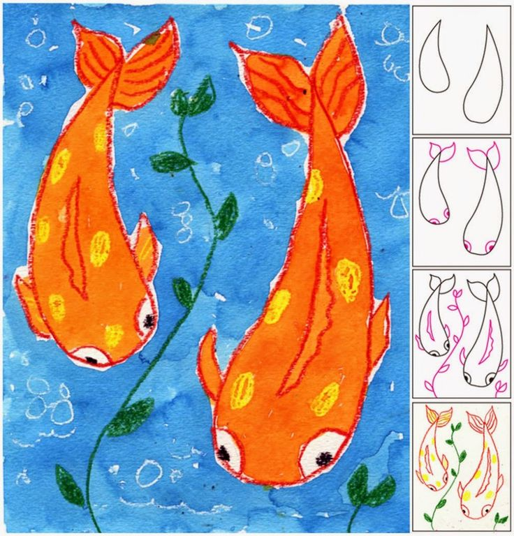 Koi Fish Watercolor Project. Bright colors and a fresh point of view make for a fun watercolor resist painting. #watercolor #koi