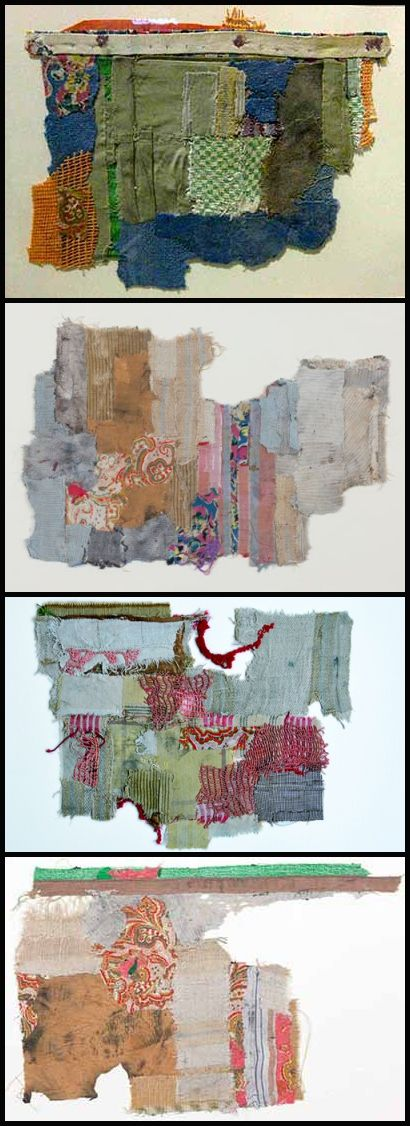 A selection of works from Geta Brătescu's 'Vestigii' (Vestiges) series of 1978 feature patches of scrap fabric layered to form a textured collage. Installed on the wall, their tattered edges and patchwork quality appear to hover on the edges of abstraction and figuration. A leading figure of Romanian Conceptualism, Brătescu has been the subject of many recent major solo exhibitions.