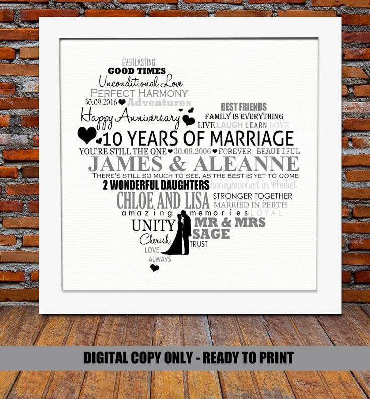 Personalized 10th Anniversary Gift 10 Year Wedding