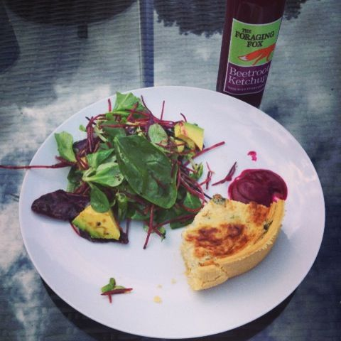 The Foraging Fox Beetroot Ketchup with Broccoli and Guyure quiche.
