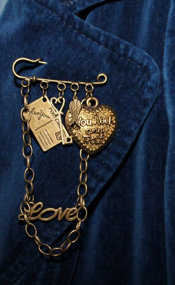 Steampunk Kilt Pin Brooch  'You Rock and Roll' by FeltAmazed, £6.40 reduced from £8.00!