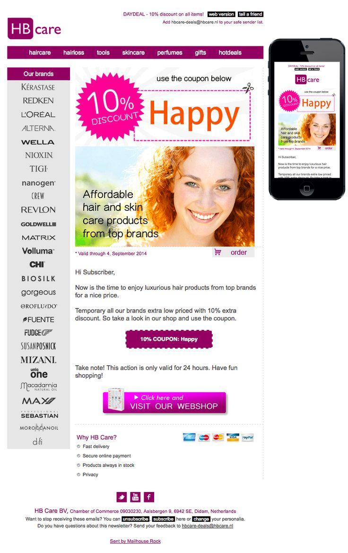 Haar- en huidproducten van topmerken 10% goedkoper met couponcode: Happy. Verzonden 4 september 2014
