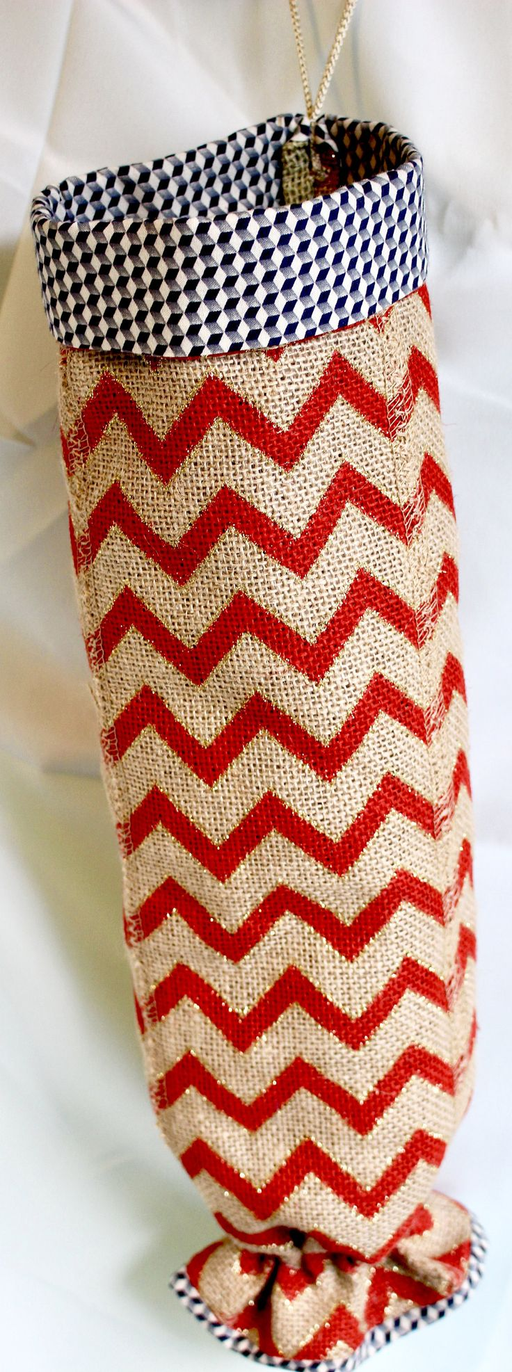 Plastic bag keeper - Plastic Grocery Bag Holder Keeper In Burlap With Personalization And Pizazz Whimsical Chevron Etched With Gold Bling Fully Lined