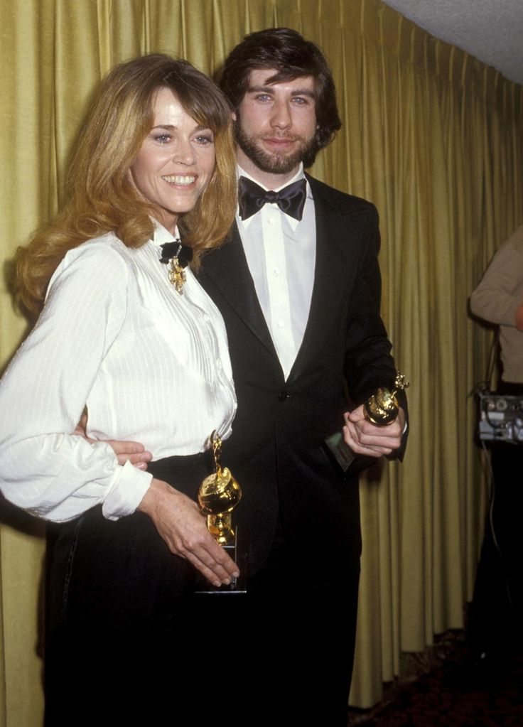 """Jane Fonda and actor John Travolta showed off their 1970s flair at the 36th Annual Golden Globe Awards on Jan. 27, 1979. Jane Fonda won Best Actress for """"Coming Home"""" and Jon Travolta won a Henrietta Award for World Film Favorite: Male."""