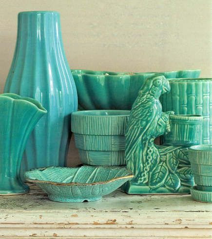 turquoise 1950s Haeger and McCoy pottery collection