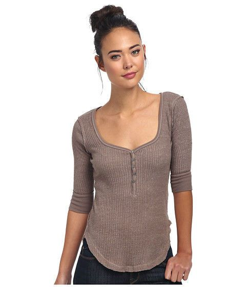 NWT FREE PEOPLE We The Free Slub Rib Sweetheart Henley in Taupe $58-Sz S,M #FreePeople #Henley