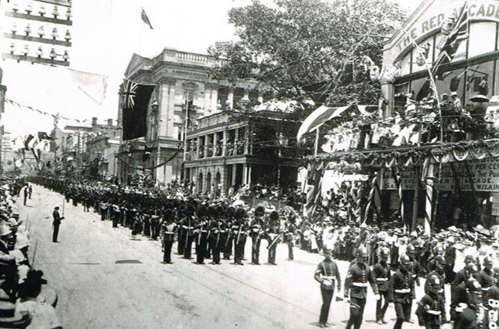 Imperial Contingent parading through Brisbane. The Contingent visited Australia in 1901 as part of the Federation celebrations.