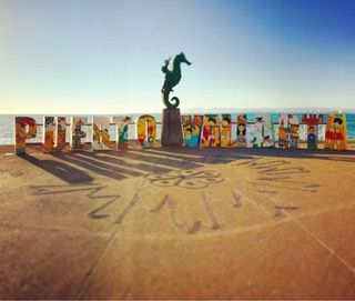 The seahorse sculpture on the Puerto Vallarta Malecon. It's rare to snap a photo of it with no one else around. : travel