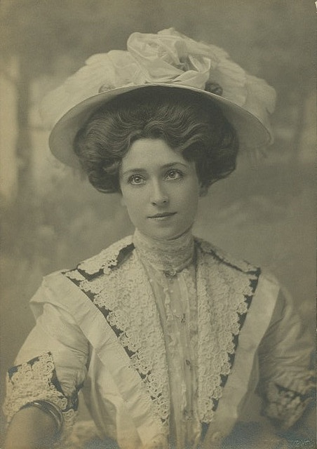 Sweet, completely beautiful Edwardian stage actress Lucy Weston in a lovely white lace ensemble.