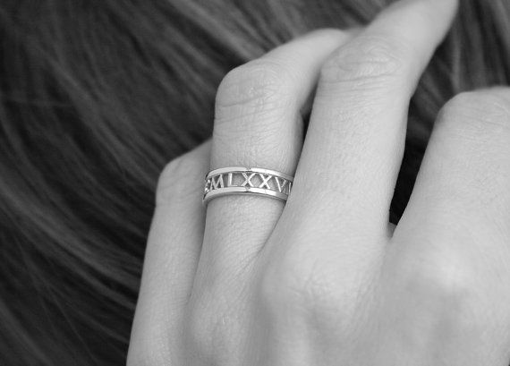 14k Gold Band Roman Numerals Ring Date Ring by capucinne on Etsy