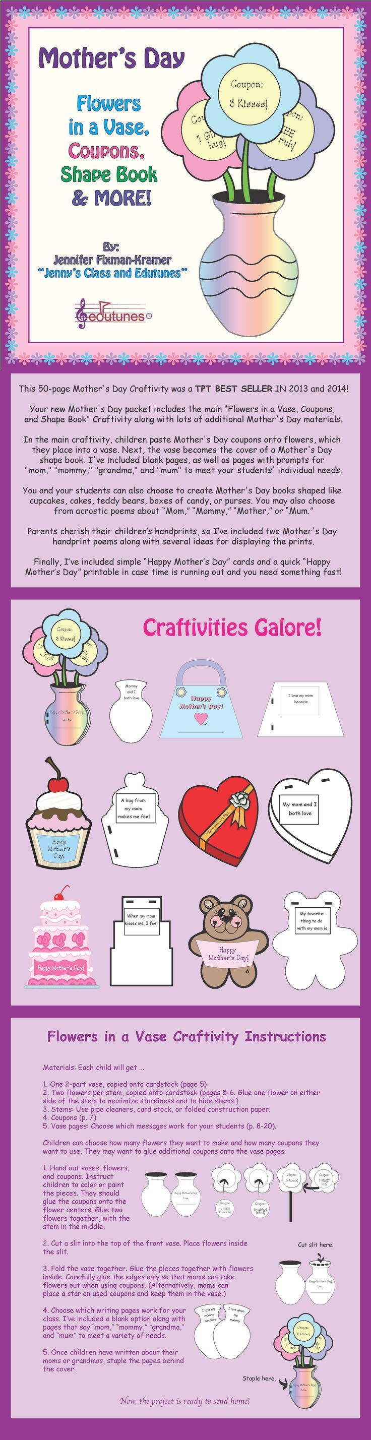 Mother's Day Best Seller! These Mother's Day craft activities are perfect for your students to create an ideal gift this Mother's Day!