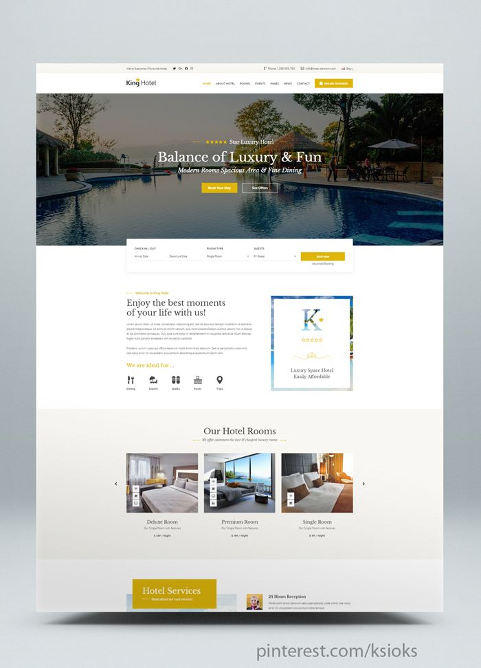 Resort And Hotel Html Website Template Is Designed Specially For Accomodation Bed And Breakfast Rersort And All Type Of Hote Hotel Hotel Services Hotel King