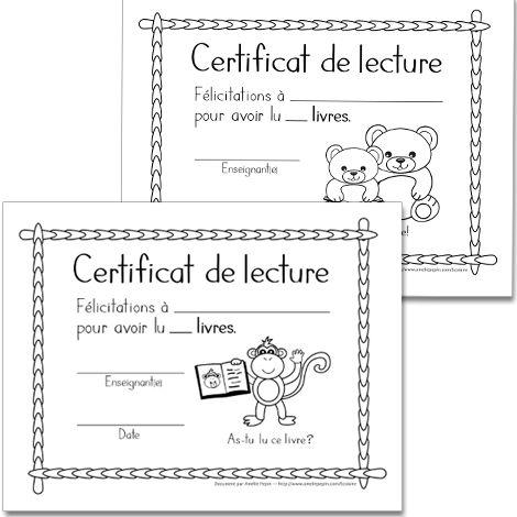 Fichier PDF téléchargeable En noir et blanc 10 pages Les illustrations de ces certificats de lecture sont créées en lien avec les fiches de lecture (Je lis...). Pour chaque fiche de lecture complétée, vous pouvez remettre le certificat correspondant à l'élève. 10 modèles offerts.