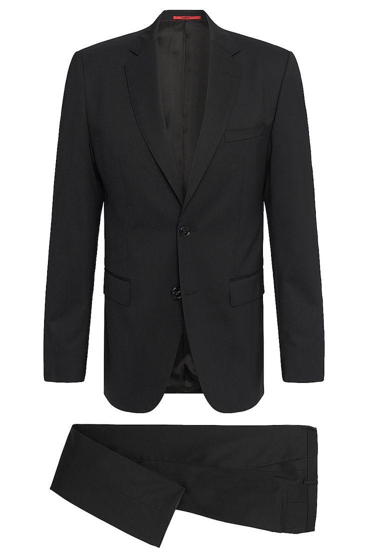 Regular-Fit Anzug aus elastischem Schurwoll-Mix: 'C-Jeffery/C-Simmons' Schwarz von HUGO für Herren für 329,00 € im offiziellen HUGO BOSS Online Store versandkostenfrei bestellen!