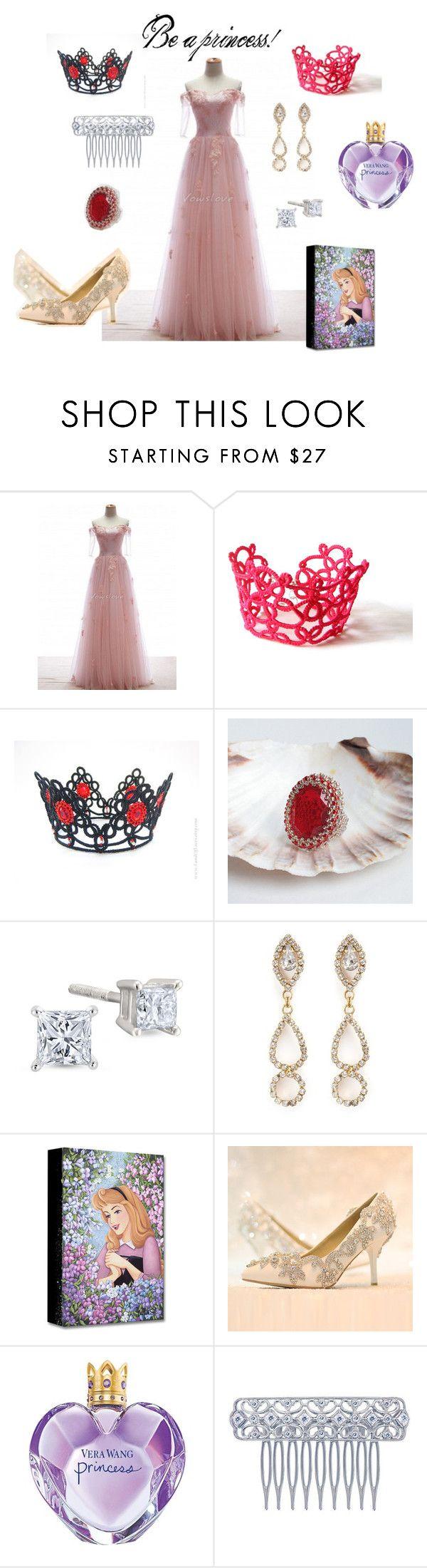 """Be a princess!"" by marudafelting ❤ liked on Polyvore featuring Erickson Beamon, Vera Wang, princess, diamonds, shine, LandOfLaces and shinyjewelry"