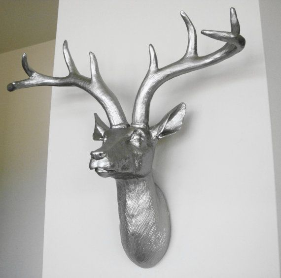 Platinum deer head faux taxidermy stag head deer wall for Animal head wall decoration