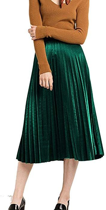 e8aaeb912b7 MUMUBREAL Women's Vintage Velvet Pleated High Waist Midi Calf A-line Skirt  Gray at Amazon Women's Clothing store: