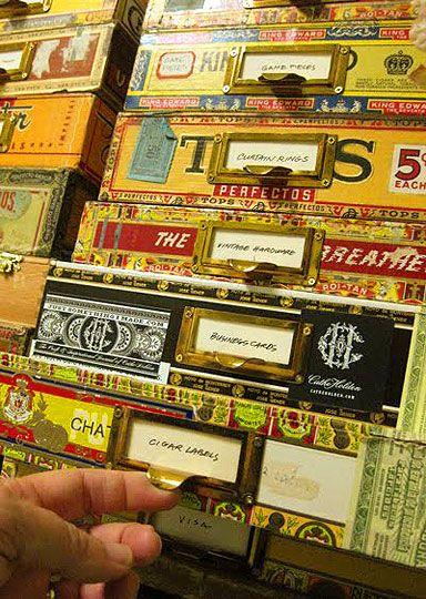 Cigar box organization.