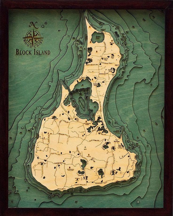 Block Island, Rhode Island Wood Map