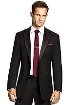 Black 2pc tux with skinny burgundy tie and handkerchief