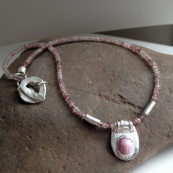 Ruby Necklace, Ancient Necklace, Ruby Pendant, Strawberry Quartz Necklace, Beaded Necklace
