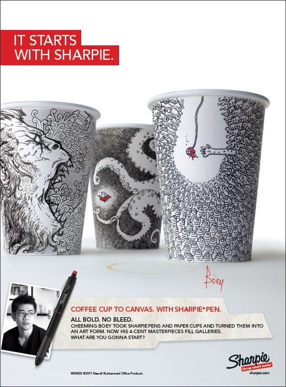 a sharpie + a styrofoam cup = amazing art by cheeming boey. //i love sharpies... LOVE. add to the sharpie art collection!