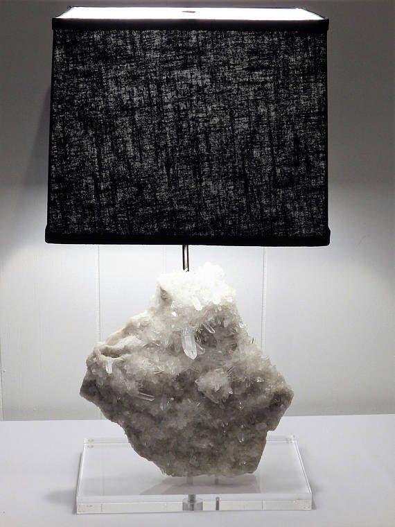 White Quartz Rock Crystal Table Lamp Lana
