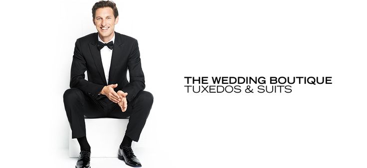 The Wedding Boutique: Tuxedos & Suits -   Whether black tie is required or optional, you'll impress your fellow wedding guests in a handsome tuxedo or suit from this leading-man-worthy collection. Here, find classic black tuxes in one- or two-button styles, and an array of well-cut suits that will have you looking your dapper best. P...  #Bib, #Jacket, #Shirt, #Tuxedo