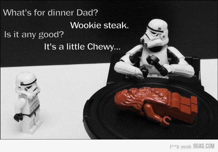 Storm Trooper Dinner:This is so wrong, but funny.