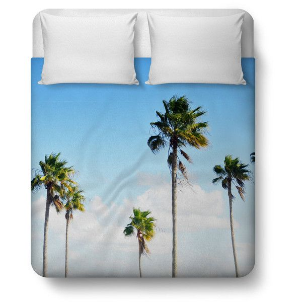 North Beach Palms Duvet Cover, Tropical Palm Trees Beach Bedding, Blue... ($156) ❤ liked on Polyvore featuring home, bed & bath, bedding, aqua blue bedding, king bed linens, king bedding, blue green bedding and king size bedding