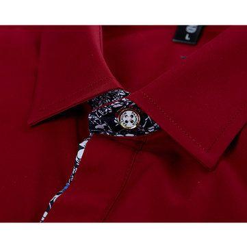 Mens Prinring Stitching Fashion Casual Slim Fit Turn-down Collar Long Sleeve Shirt at Banggood