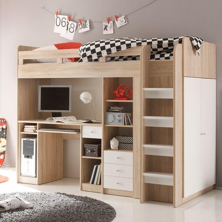 Lit mezzanine unit sonoma blanc lit combin pinterest for Lit mezzanine avec placard
