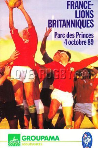 #rugby today 04/10 in 1989 : France 27-29 British Lions - rugby programme  from Paris